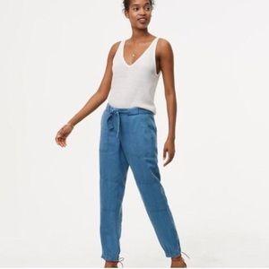 Ann Taylor LOFT Blue Linen Zip Joggers Size 0